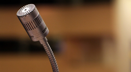 Microphone on a blurred background